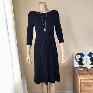 J CREW Navy Bateau Jersey 3/4-sleeved Dress, Small